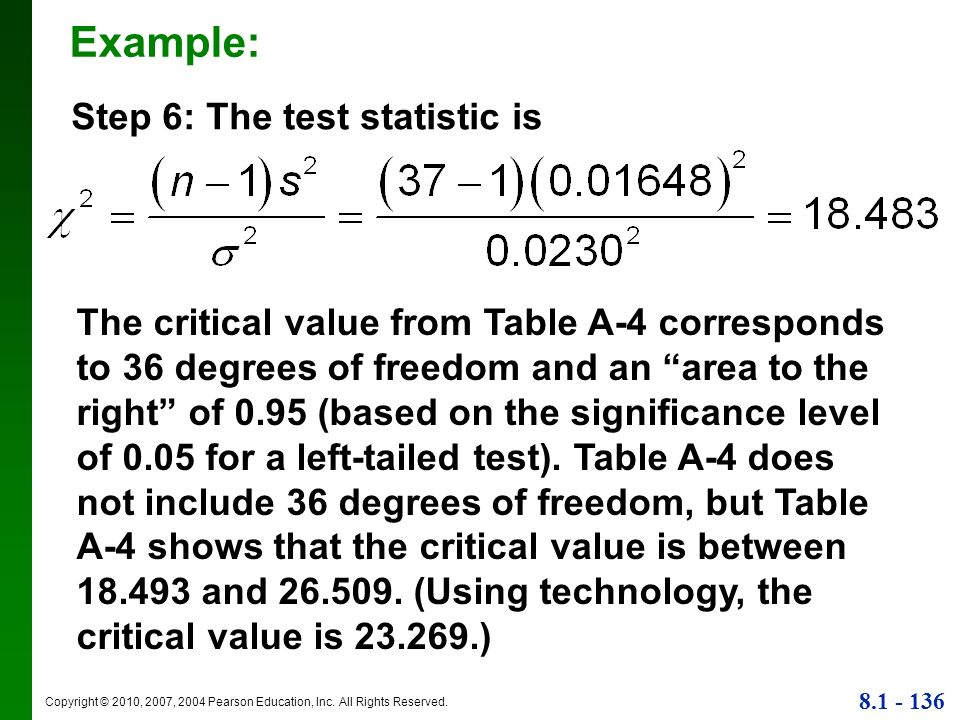 Example: Step 6: The test statistic is