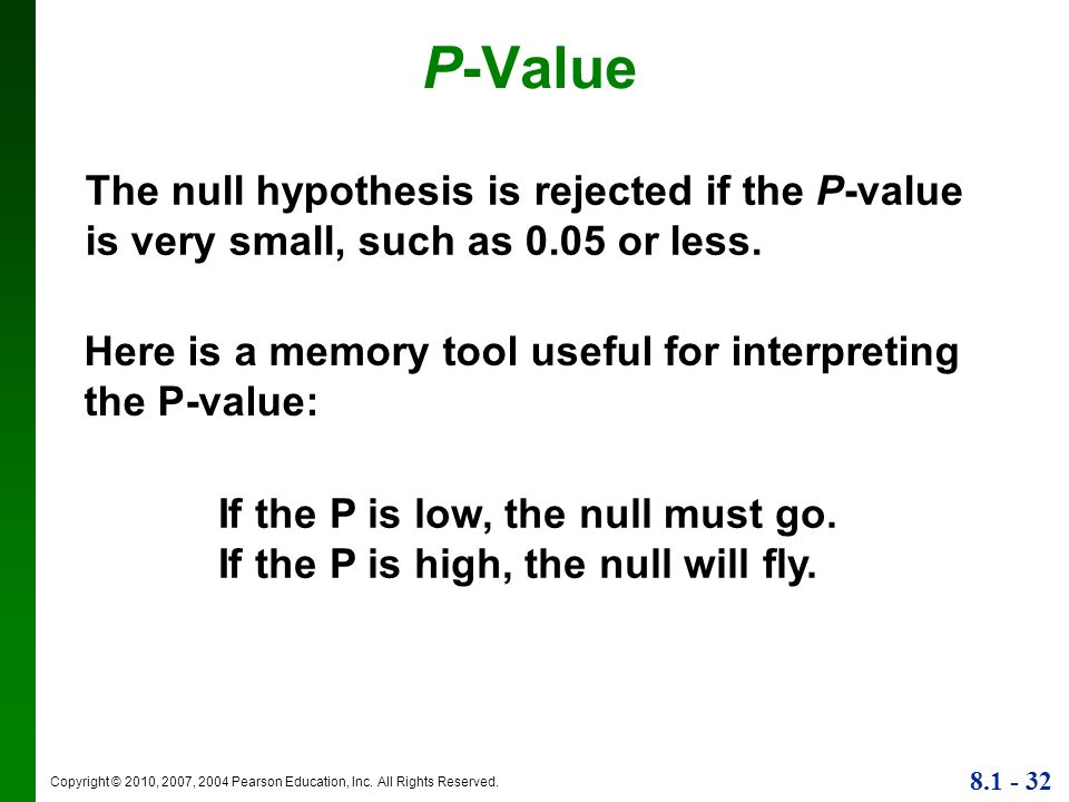 P-Value The null hypothesis is rejected if the P-value is very small, such as 0.05 or less.