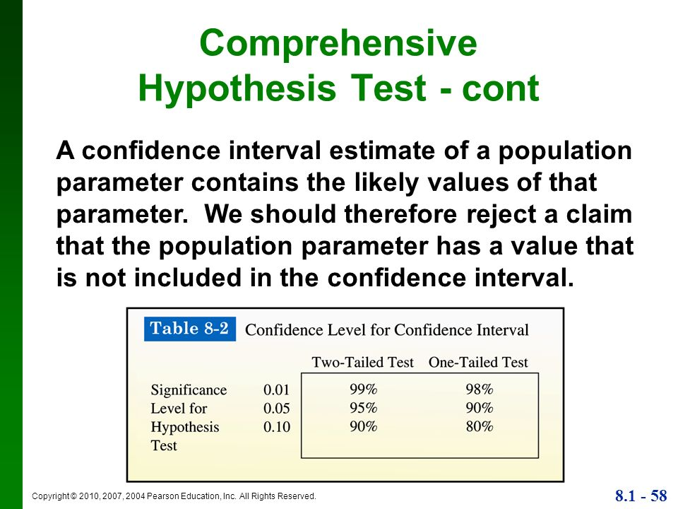 Comprehensive Hypothesis Test - cont
