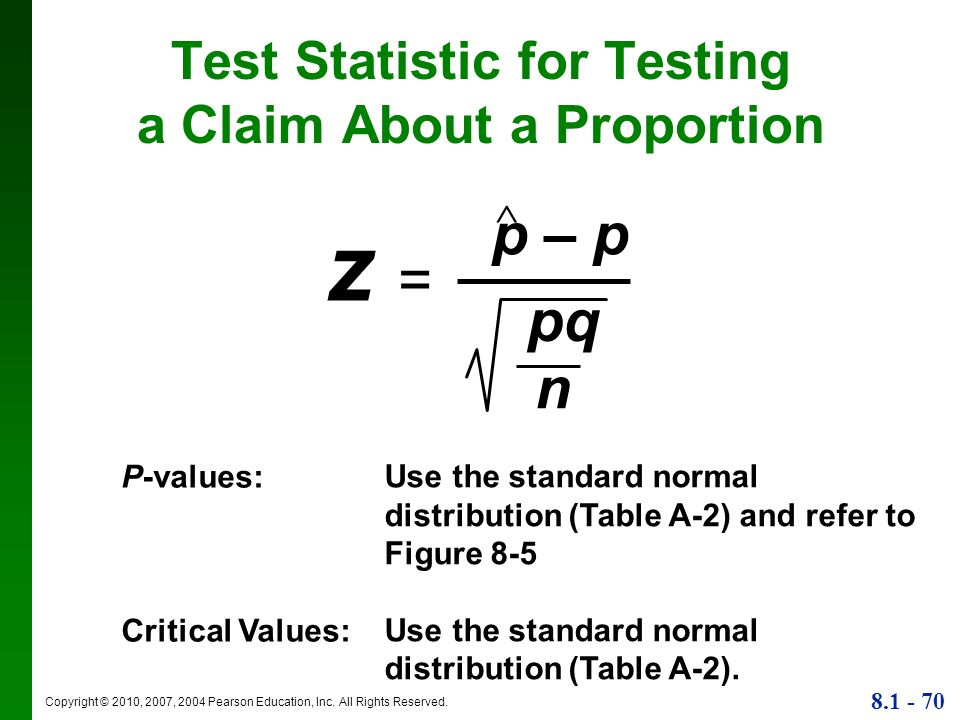 Test Statistic for Testing a Claim About a Proportion