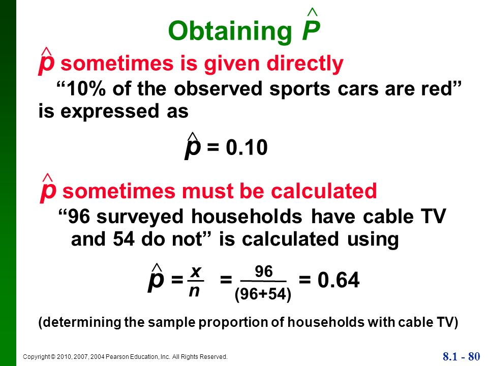 (determining the sample proportion of households with cable TV)