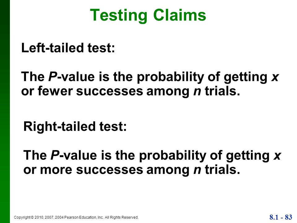 Testing Claims Left-tailed test: