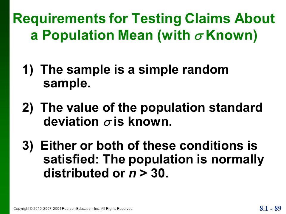 Requirements for Testing Claims About a Population Mean (with  Known)