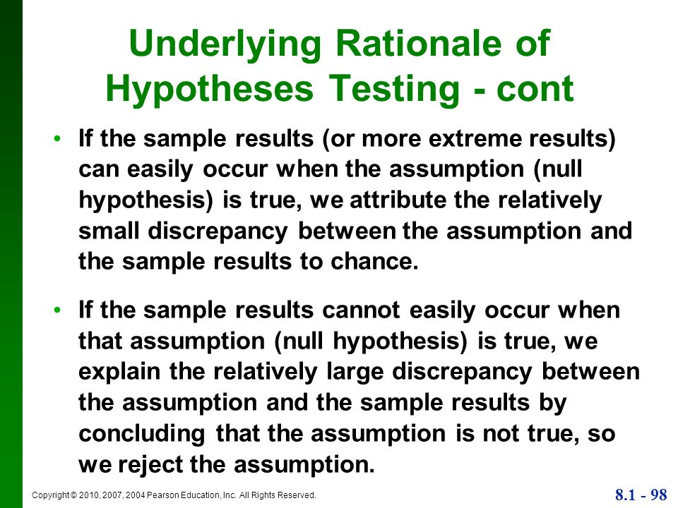Underlying Rationale of Hypotheses Testing - cont