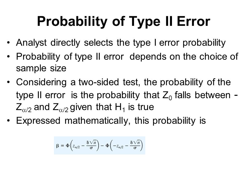 type 2 error The type i error is the error of rejecting the null hypothesis when the null  hypothesis is correct, and the type ii error is the error of not rejecting the null.