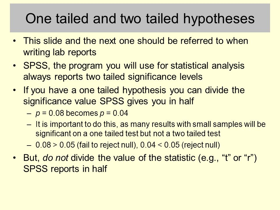 testing hypothesis using spss software 12 - the 7 step process of statistical hypothesis testing  note that modern statistical software condenses step 6 and 7 by providing a p-value.