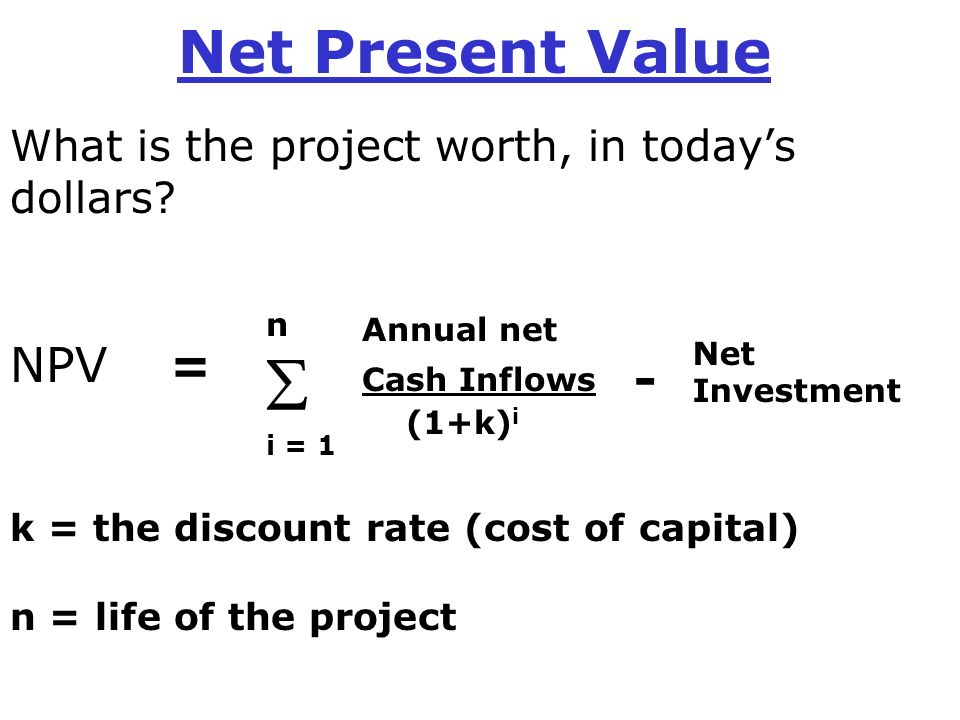 net present value When reading corporate finance textbooks, net present value (npv) emerges as  the preferred metric for project valuation under most circumstances npv is.