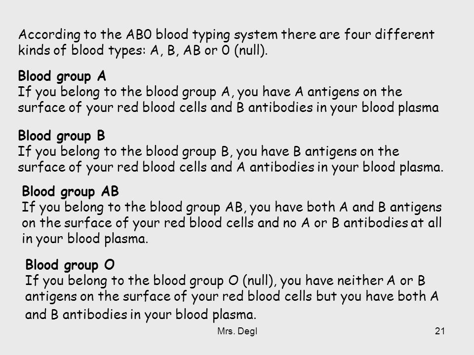 According to the AB0 blood typing system there are four different kinds of blood types: A, B, AB or 0 (null).