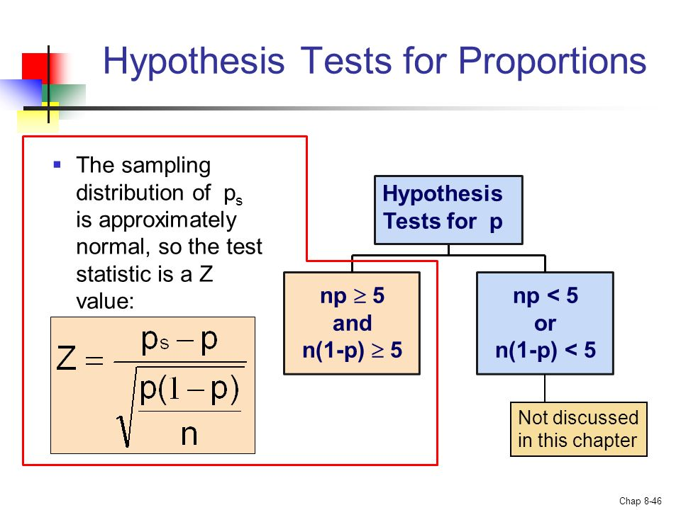 hypothesis testing for means and proportions Use a two-proportions hypothesis test to determine whether a six sigma project actually improved the process the test compares the.