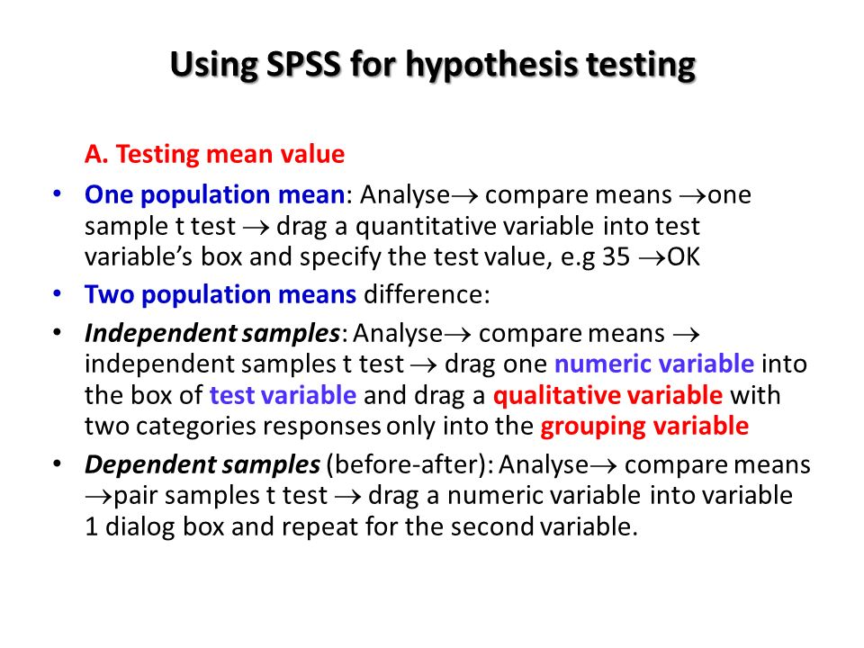 testing hypothesis using spss software A comprehensive guide to statistical hypothesis testing with examples in sas and  students using sas and r will  (4mb) introduction to spss statistics in.