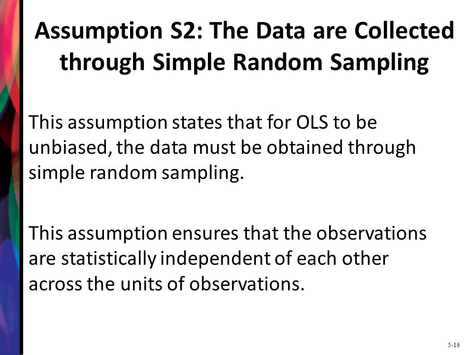 Assumption S2: The Data are Collected through Simple Random Sampling