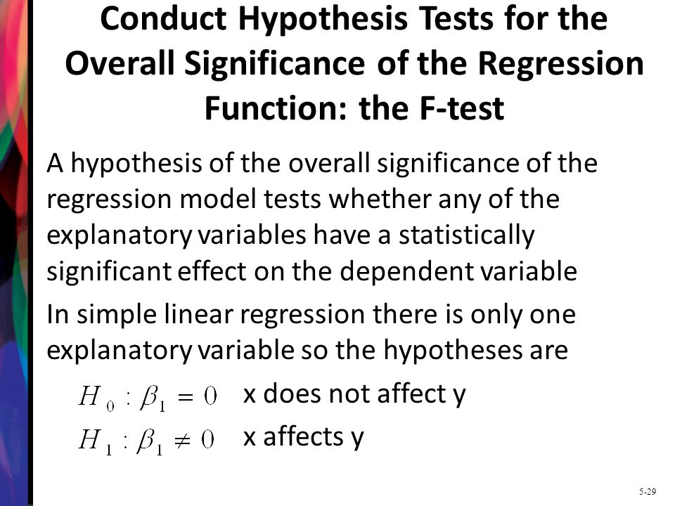 Conduct Hypothesis Tests for the Overall Significance of the Regression Function: the F-test