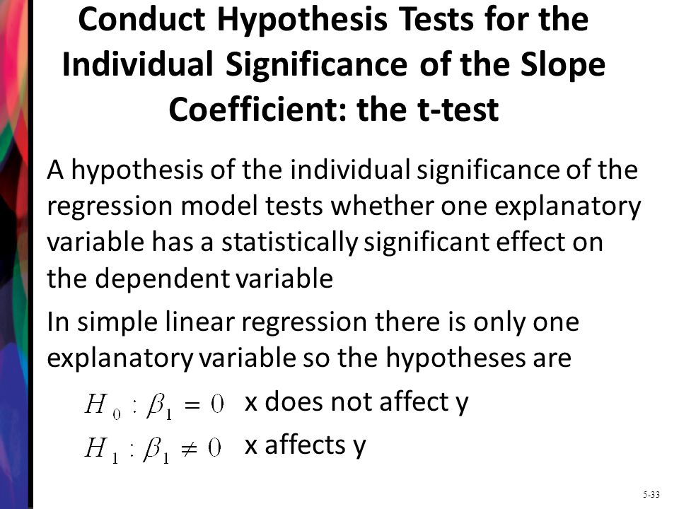Conduct Hypothesis Tests for the Individual Significance of the Slope Coefficient: the t-test