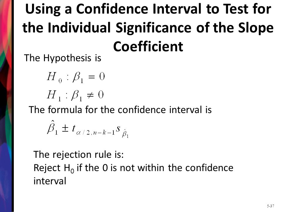 Using a Confidence Interval to Test for the Individual Significance of the Slope Coefficient