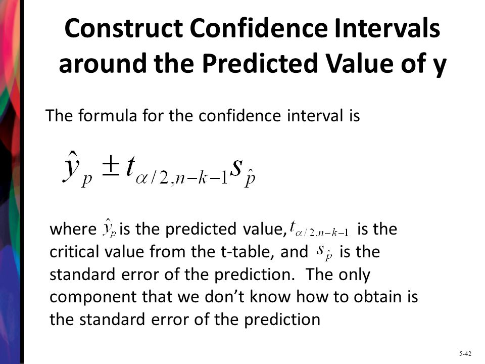 Construct Confidence Intervals around the Predicted Value of y