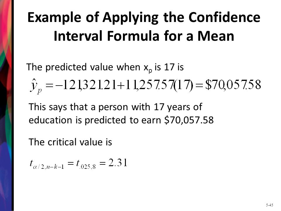 Example of Applying the Confidence Interval Formula for a Mean