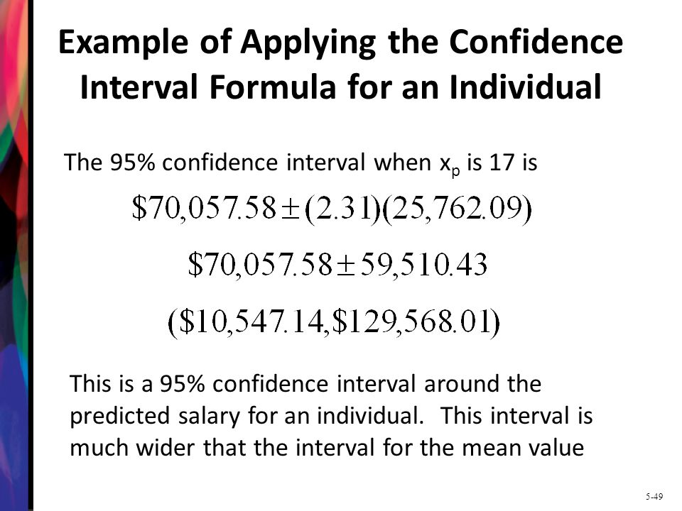 Example of Applying the Confidence Interval Formula for an Individual