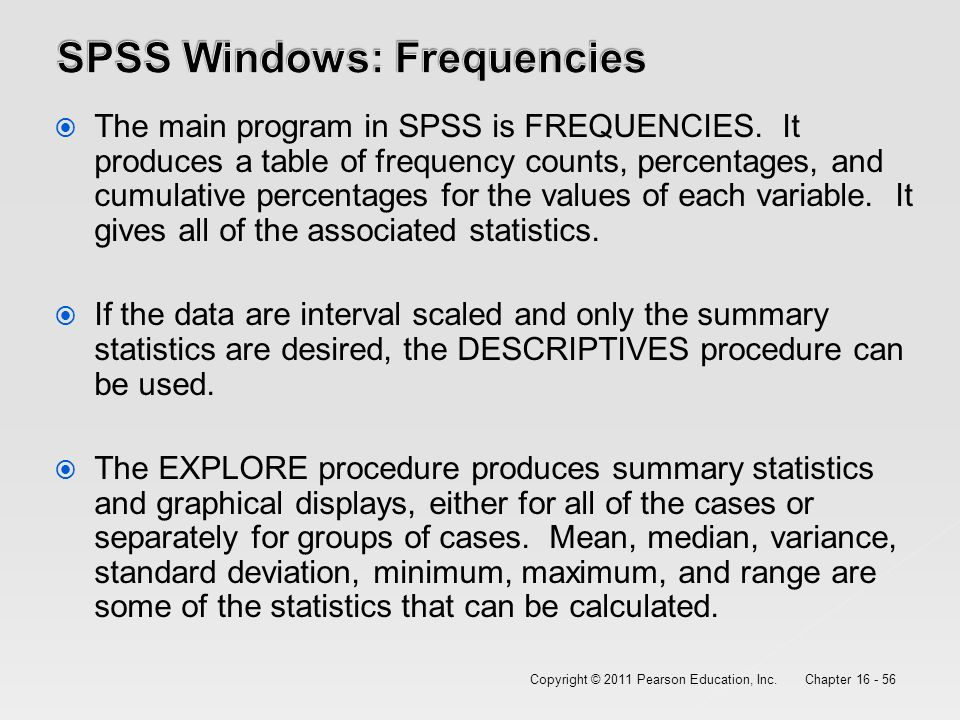 how to run frequencies in spss