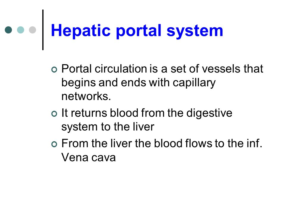 Hepatic portal system Portal circulation is a set of vessels that begins and ends with capillary networks.