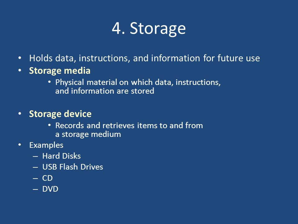 4. Storage Holds data, instructions, and information for future use