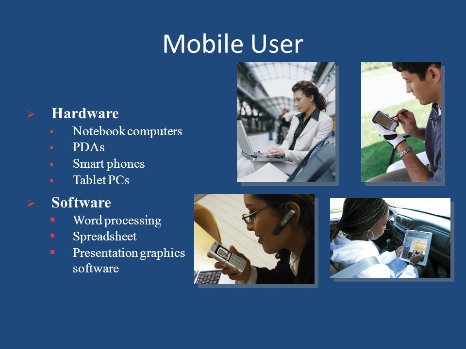 Mobile User Hardware Software Notebook computers PDAs Smart phones