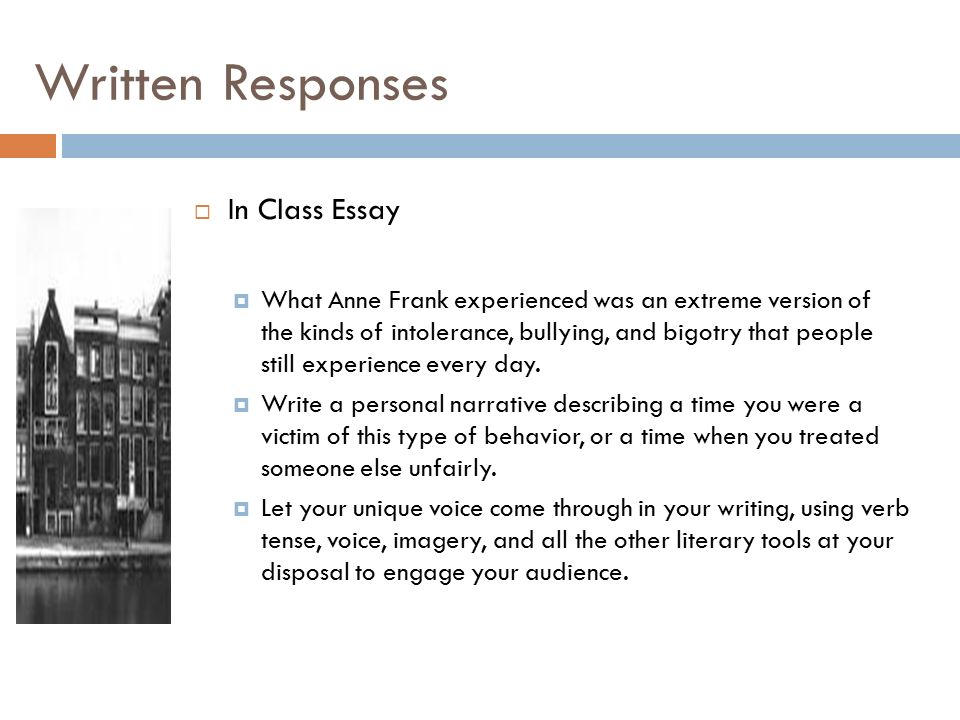 anne frank the diary of a young girl ppt written responses in class essay