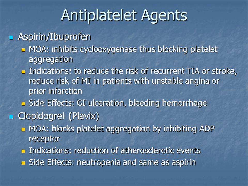 Antiplatelet Agents Aspirin/Ibuprofen Clopidogrel (Plavix)