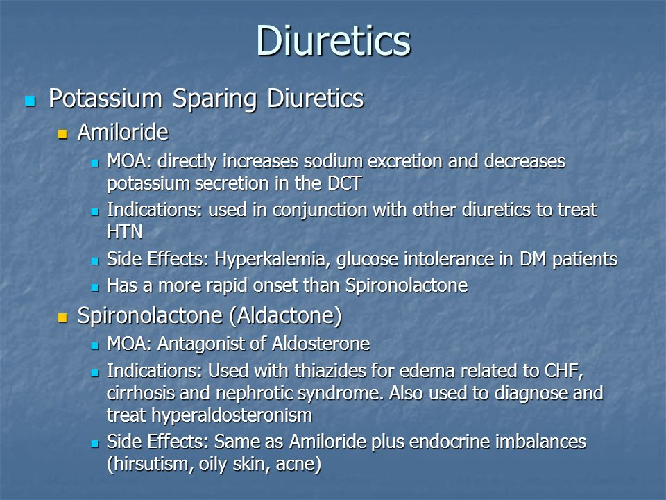 Diuretics Potassium Sparing Diuretics Amiloride