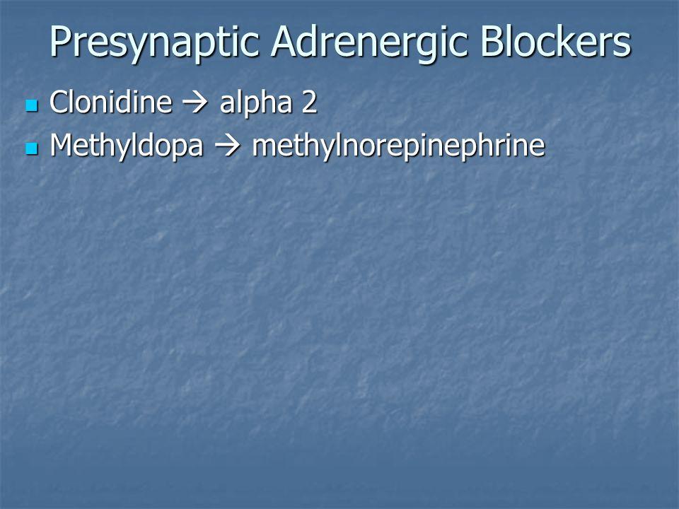 Presynaptic Adrenergic Blockers