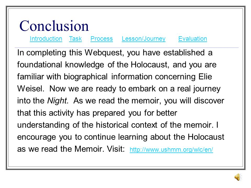 elie wiesel night thesis statement From the beginning, elie wiesel's work details the threshold of his adult awareness of judaism, its history, and its significance to the devout his emotional r.