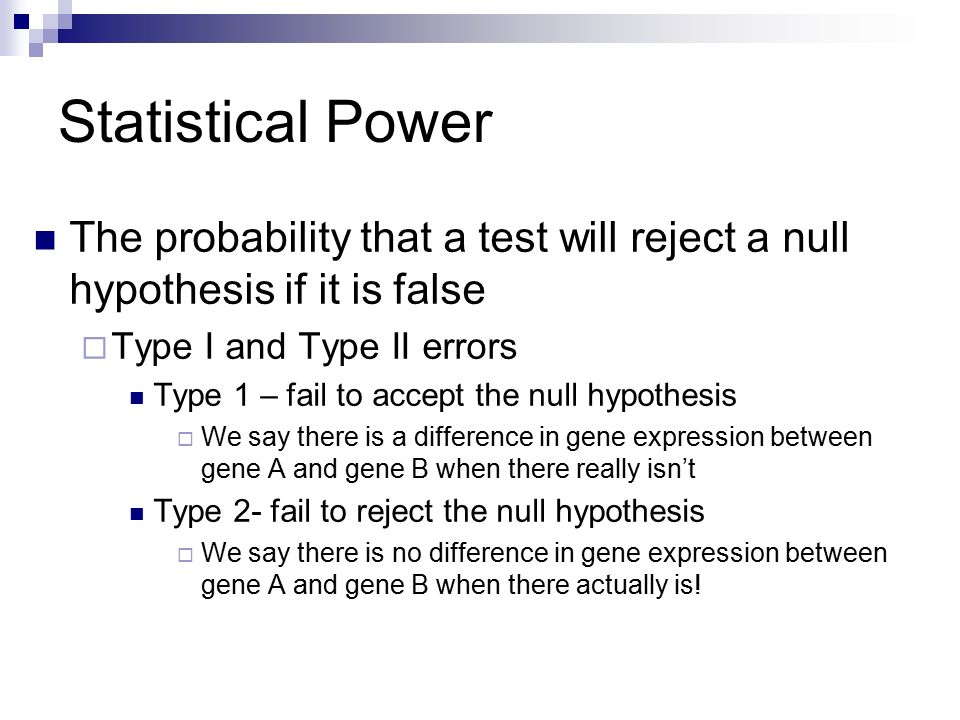 relationship between power and type 1 error probability