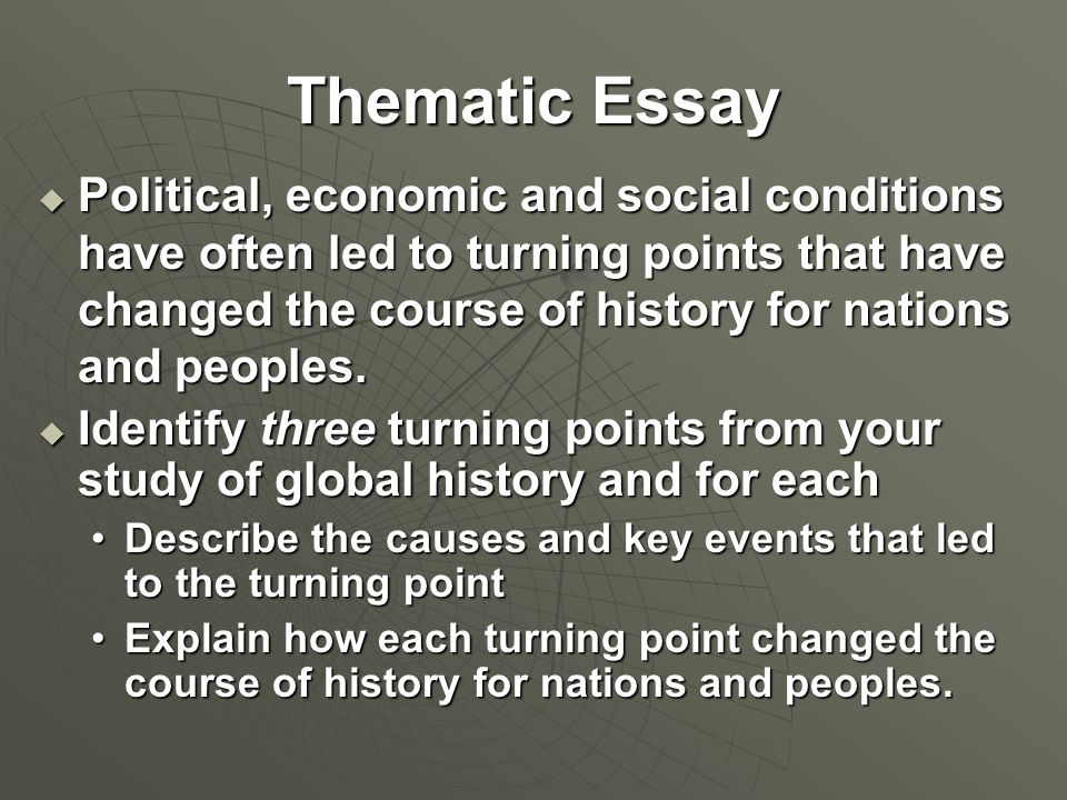 Turning points in history essay