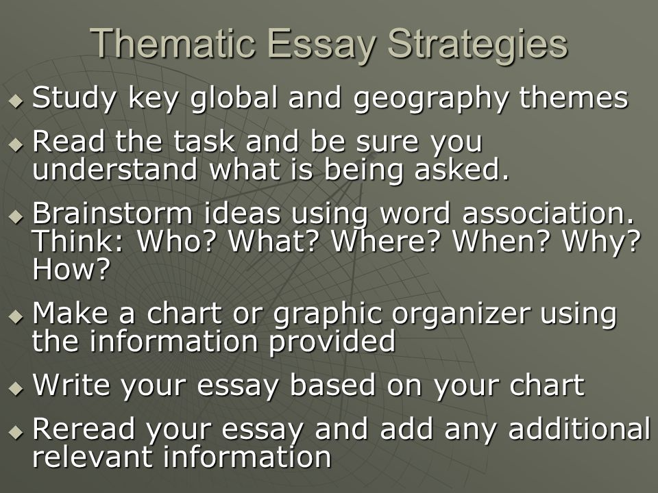 thematic essay about geography View notes - american history geography thematic essay from history  american h at suffern senior high school chris jefferson 12/18/12 thematic  essay.