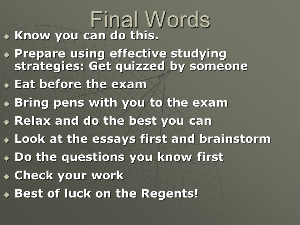 regents listening essay Learn how to write a critical lens essay for the regents exams step by step and use the following sample essay as an example.