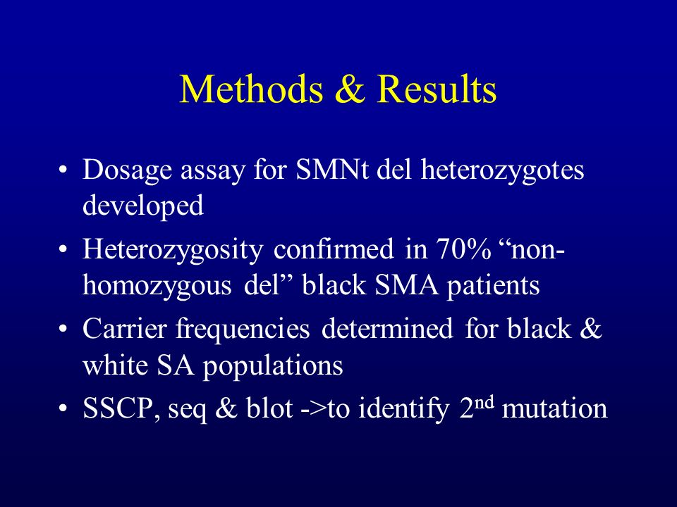 Methods & Results Dosage assay for SMNt del heterozygotes developed