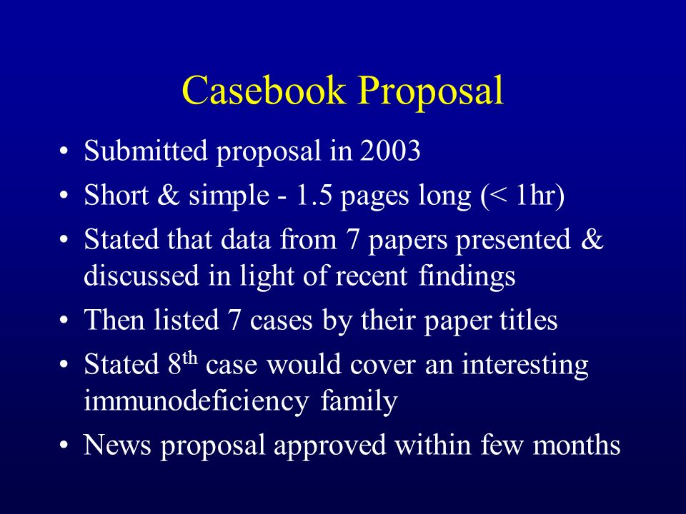 Casebook Proposal Submitted proposal in 2003