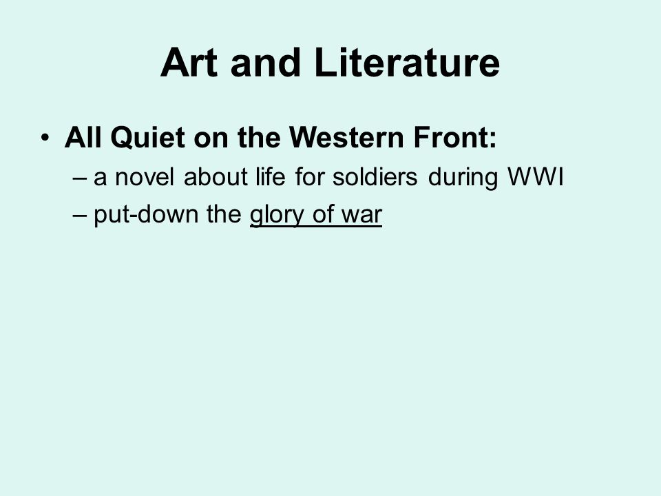 literature all quiet on essay Free essay: paul's facade in all quiet on the western front in erich maria remarque's novel all quiet on the western front, paul baumer paints a vivid.