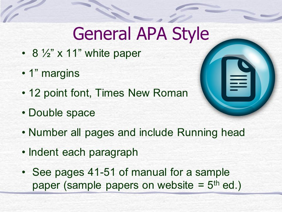 what are the standard margins for a paper written in apa style Formatting a paper in apa style can be tricky, so i have created this step-by-step  guide on  to begin with, the entire paper should be double-spaced and written  in a highly readable  there should also be 1-inch margins on all sides of the  document  if it is easiest for you, start typing the text in left alignment (the  default.
