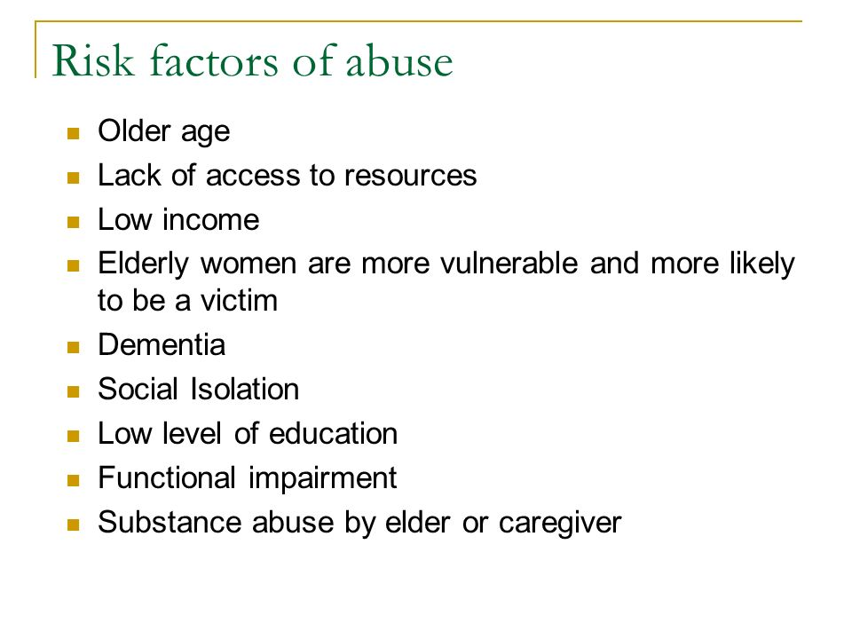 causative factors to vulnerability of the elderly An elderly woman hospitalized for pneumonia delirium or dementia a delay in diagnosis and assessment of underlying causative factors can cause the.