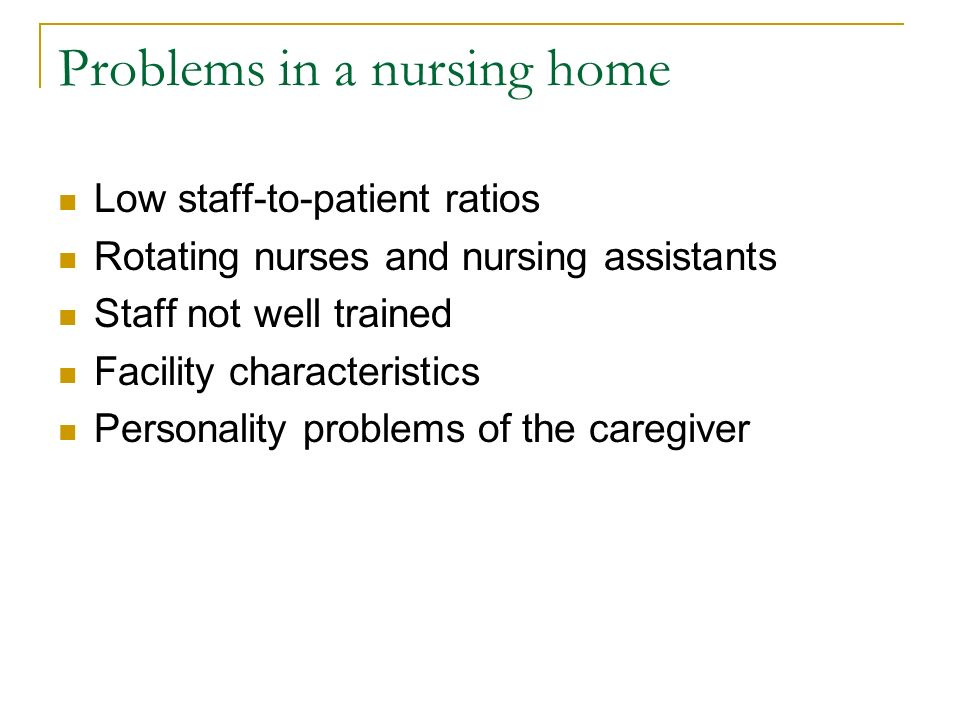 low staff in nursing homes Nursing homes are requiring larger and larger amounts of staff to operate safely, almost 96,000 full-time equivalent nurses and other health workers are needed in nursing homes (mantone) as more people require long-term care nursing homes must increase staff to meet the demands of a larger patient count.