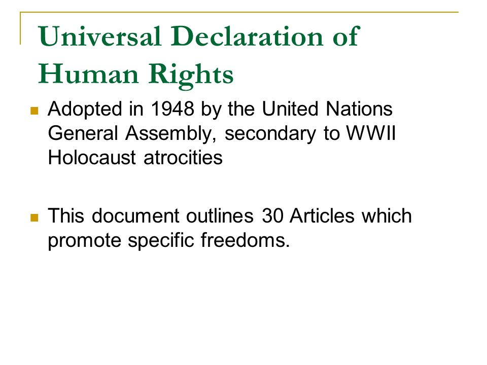 an analysis of the universal declaration of human rights adopted by the united nations in 1948 A declaration adopted by the united nations general assembly on dec 10, 1948 the declaration consists of a preamble and 30 articles it is based on the principles of the united nations charter concerning the need to develop international cooperation and respect for human rights and fundamental freedoms.