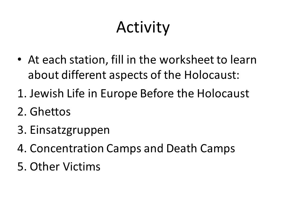 The Holocaust and the UDHR ppt video online download – Holocaust Worksheet