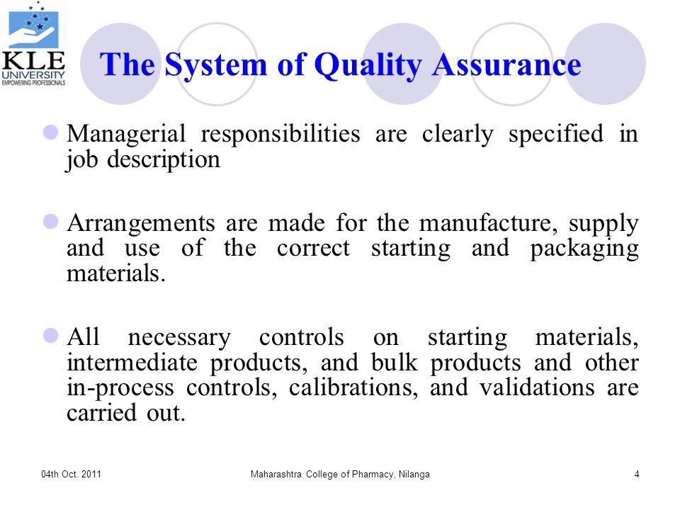 Quality Assurance And Regulatory Compliance For Pharmaceutical