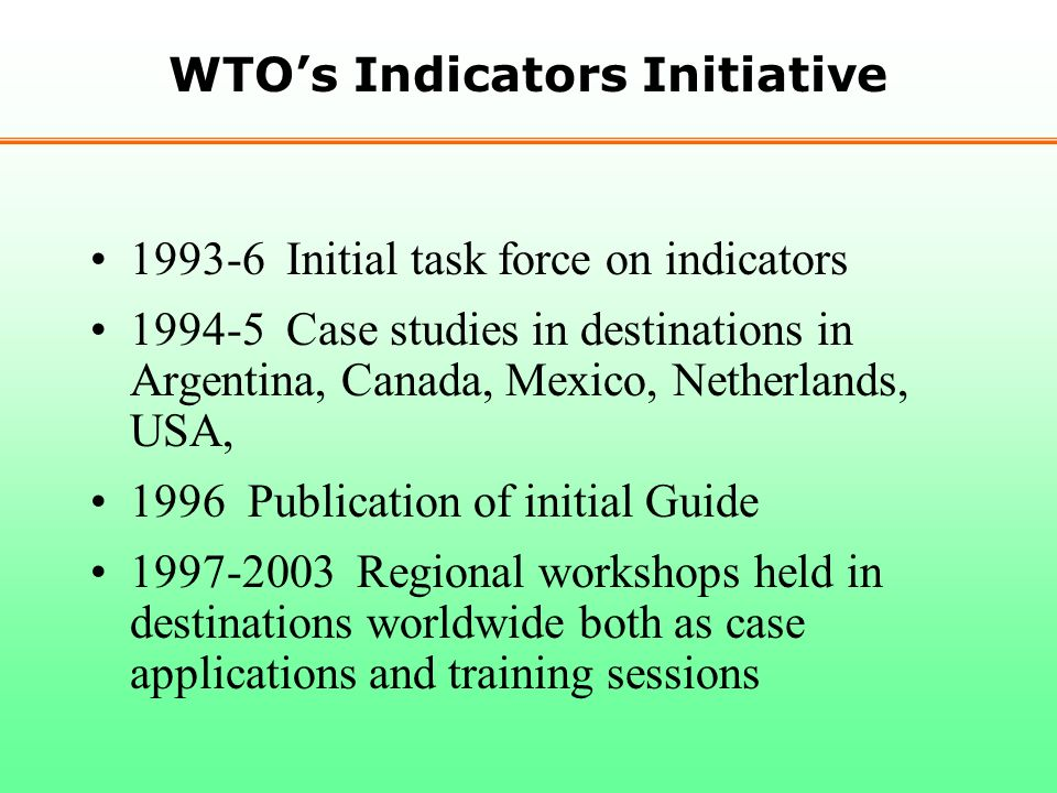 WTO's Indicators Initiative