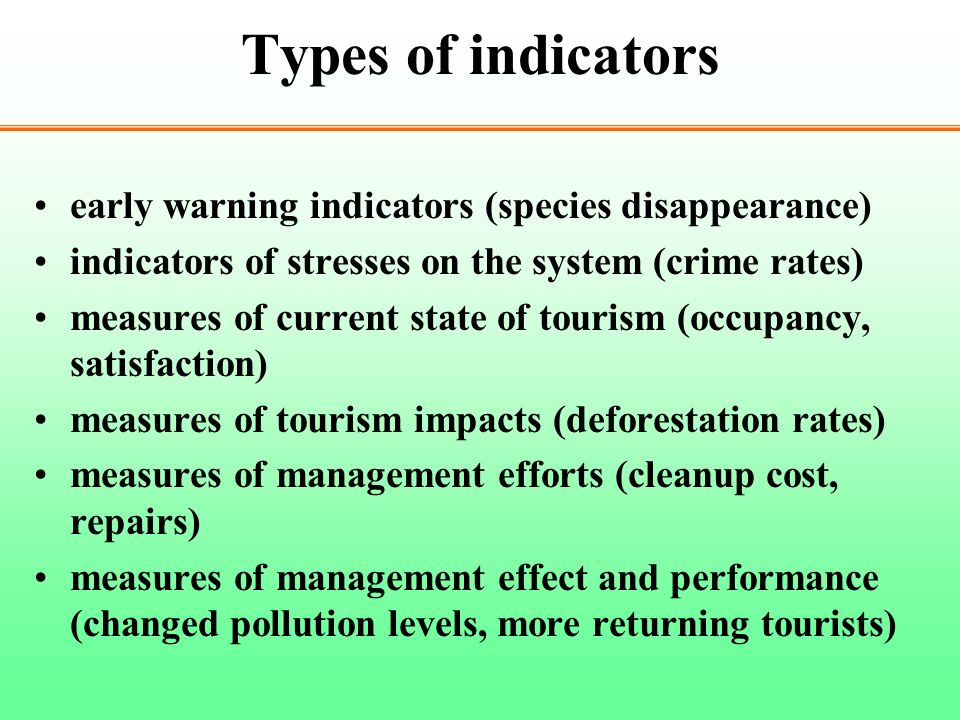 Types of indicators early warning indicators (species disappearance)