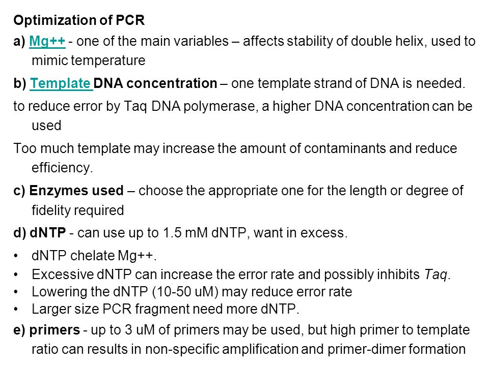 Pcr polymerase chain reaction ppt video online download for How much template dna for pcr
