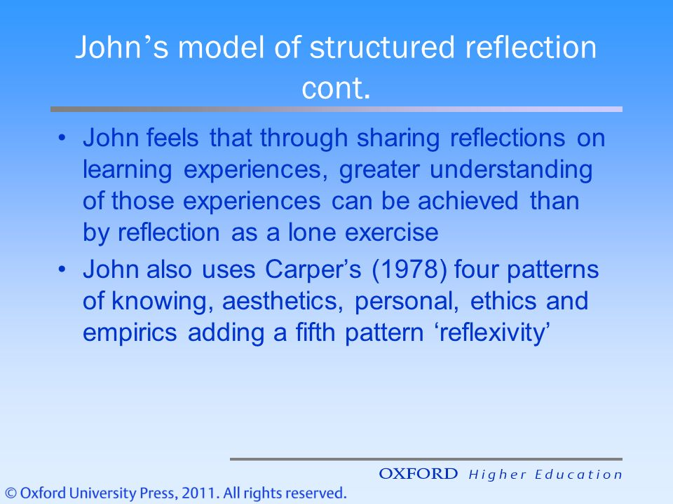 johns model of reflection 626 problem area (6) - depth of reflection / critical reflective practice    practitioners implementing the johns model of structured reflection.