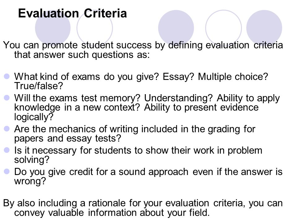 juldyz smagulova ppt  evaluation criteria you can promote student success by defining evaluation criteria that answer such questions as