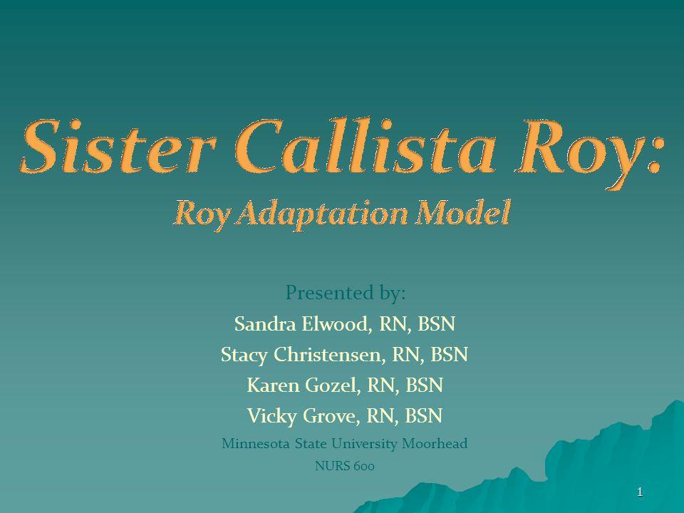 adaptation model of sister callista roy The ro adaptation modelthe roy adaptation model nursing model nursing model –– a model is an idea that a the ram was developpyed by sister callista roy.