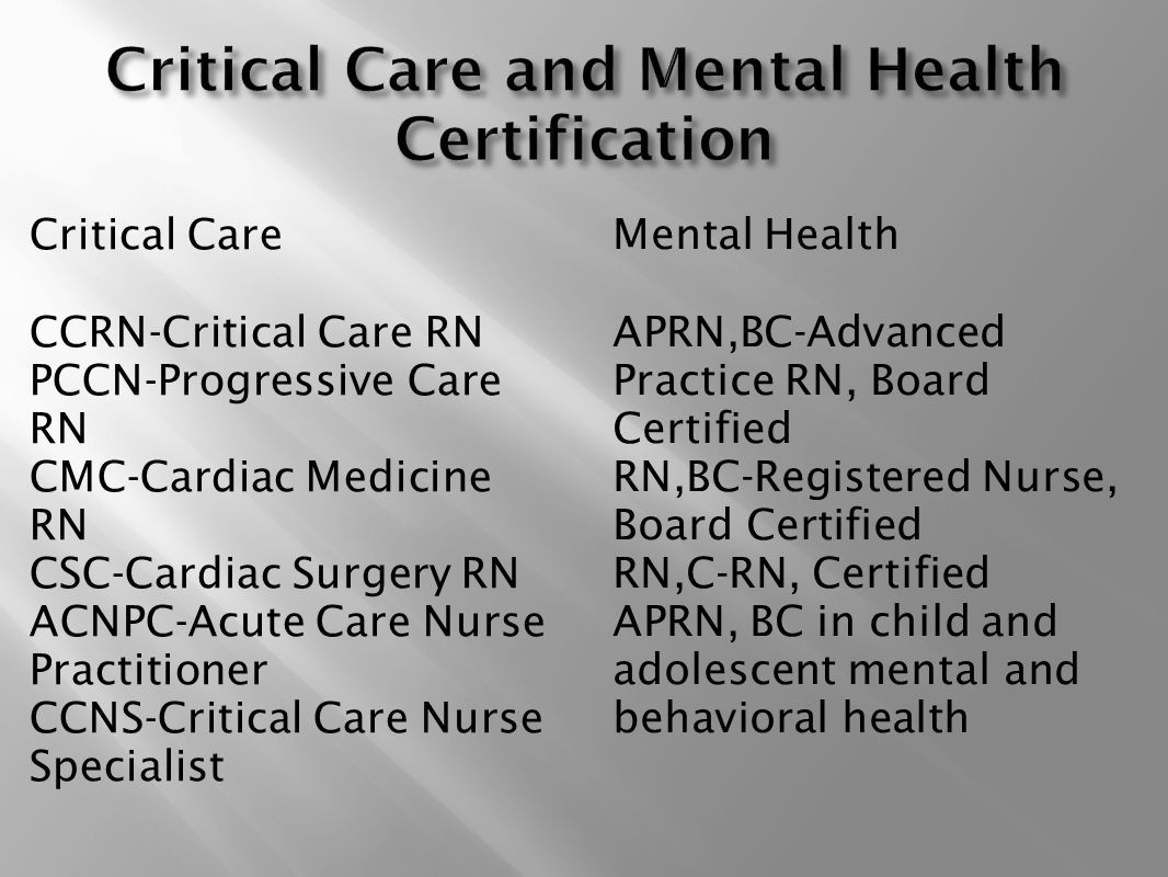 Nursing profession as new graduate nurses ppt video online download critical care and mental health certification xflitez Image collections